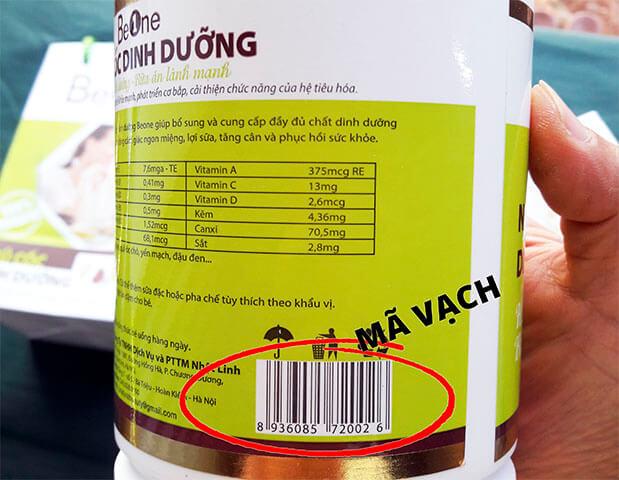 Mã vạch trên sản phẩm dùng để xác nhận mã vạch