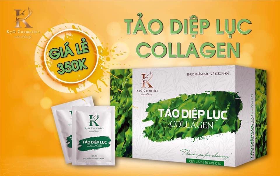 tảo diệp lục collagen có giá niêm yết của công ty đưa ra : 350.000đ/ hộp.