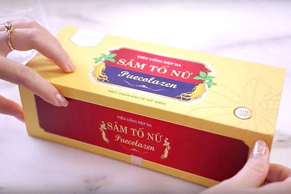 Vỏ hộp bên ngoài Viên Uống Đẹp Da Sâm Tố Nữ Puecolazen